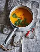 Vegan sweet potato and chilli soup with ginger