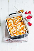 Apricot quark pudding