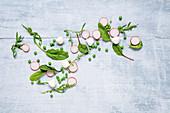 Radishes, lettuce, peas and mini mozzarella