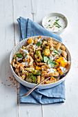 Pasta salad with oven-roasted vegetables