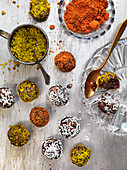 Energy balls with pistachios, coconut and harissa