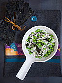 Risotto with wakame and fresh peas