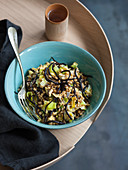 Seaweed and leek farro salad with hijiki
