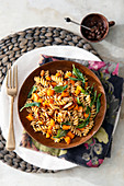 Whole grain fusilli with pumpkin, sage and nut butter