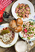 Bavarian sausage salads and pickle plate