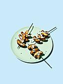 Mushroom kebabs with aioli