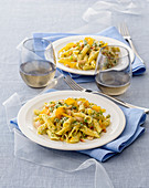Garganelli with celery pesto and bottarga