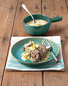 Polenta di formentin con bagna bianca (buckwheat polenta with a white leek sauce, Ialy)