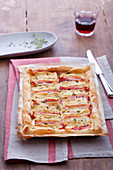 Puff pastry tart with bacon, camembert and thyme