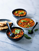 Spicy vegetable soup with beans and butternut squash