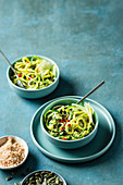 Marrow 'linguine' with creamy avocado pesto