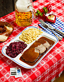 Sauerbraten with red cabbage and spaetzle