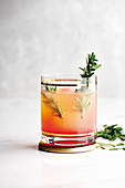 Ombré grapefruit and rosemary mocktail