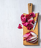 Radicchio and red chicory on a chopping board