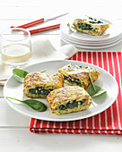 Omelette with a spinach and salsiccia filling