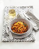 Maccheroncini di Campofilone (tagliatelle with a meat sauce, Italy)
