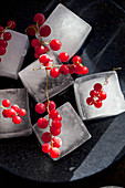 A stack of ice cubes with bunches of frozen red currants on top