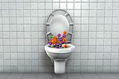 Toilet microbes, conceptual illustration