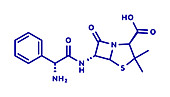 Ampicillin beta-lactam antibiotic drug, molecular model
