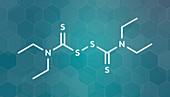 Disulfiram alcoholism drug, molecular model