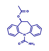 Eslicarbazepine acetate epilepsy drug, molecular model