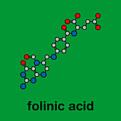 Folinic acid chemotherapy drug, molecular model