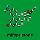 Mifepristone abortion-inducing drug, molecular model