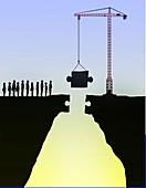 Building bridges, conceptual illustration