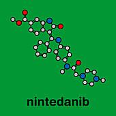 Nintedanib cancer drug, molecular model