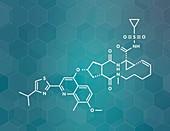 Simeprevir hepatitis C virus drug, molecular model
