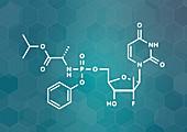 Sofosbuvir hepatitis C virus drug, molecular model