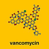Vancomycin antibiotic drug, molecular model