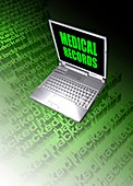 Medical records being hacked, illustration