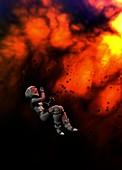 Astronaut in spacesuit, illustration