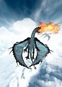 Dragon breathing fire, illustration