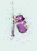 Phial and syringe, illustration