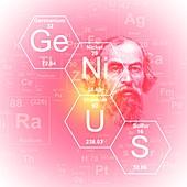Chemical elements genius, illustration