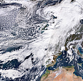 Storm Ciara over the UK, 9 Feb 2020, satellite image