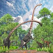 Gasosaurus and Omeisaurus dinosaurs, illustration