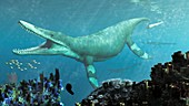 Kronosaurus prehistoric marine reptile, illustration