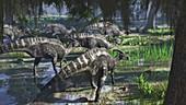 Parasaurolophus dinosaur herd, illustration