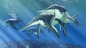 Shonisaurus prehistoric marine reptile, illustration