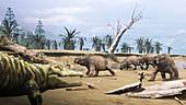Smilosuchus and Placerias dinosaurs, illustration