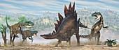 Allosaurus dinosaurs attacking a Stegosaurus, illustration