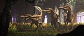 Utahraptor dinosaurs, illustration
