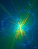 Tritium fusion conceptual illustration.