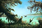 Dimorphodon pterosaurs, illustration