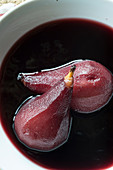 In red wine poached pears