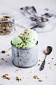 Pistachio ice cream with crushed pistachios on top