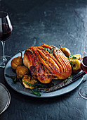Mustard, pear and cider pork leg roast